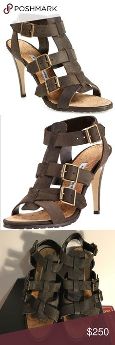 "Brown Manolo Blahnik Pidigi Triple-Buckle Sandals 100% Authentic New $845 Vintage Brown Manolo Blahnik Pidigi Leather Triple-Buckle Sandals 39.5  Rugged, meet refined---Manolo Blahnik pairs distressed leather and a rubber grip sole with a stacked stiletto heel. Manolo Blahnik distressed leather sandal. Antiqued golden hardware. 4 1/4"" stacked stiletto heel. Three buckled straps at vamp. Cork cushioned footbed. Leather sole with rubber grip pads. ""Pidigi"" is made in Italy. Sz 39.5  Box not…"