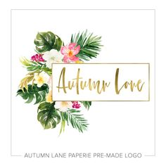 Logo Design - Tropical Logo - Watercolor Flower Logo - Photography Logo - Premade Logo - Floral Logo - Gold Logo - Palm Tree Logo - Feminine by AutumnLanePaperie on Etsy