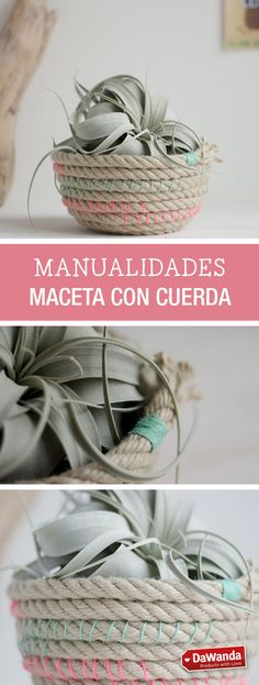 Tutorial DIY - CÓMO HACER UNA MACETA DE CUERDA en DaWanda.es