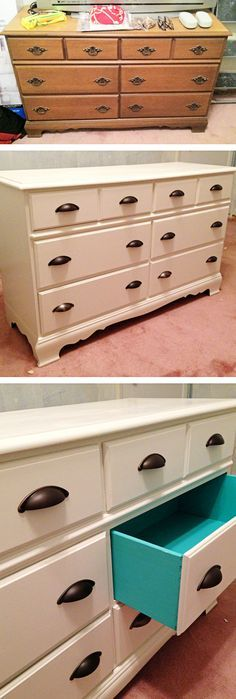 Before & after: Dresser/bureau remodel with painted drawers, DIY, sanding and painting an old dresser with a pop of color will bring your dresser back to life.
