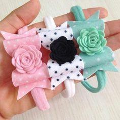 Bows and flowers Making Hair Bows, Diy Hair Bows, Diy Bow, Diy Baby Headbands, Baby Bows, Felt Bows, Ribbon Bows, Felt Flowers, Fabric Flowers