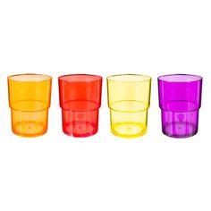4 gobelets en plastique multicolore