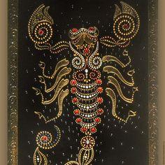 Купить Золотой Скорпион Роспись по стеклу - украшение интерьера, эксклюзивный подарок, подарок на любой случай