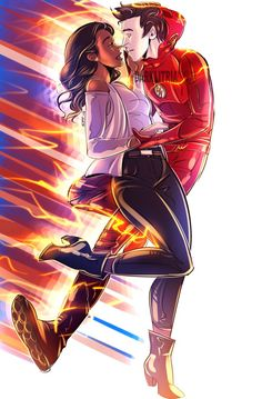 """""""The Flash and his lightning rod. Flash And Arrow, Barry Iris, Series Dc, Interracial Art, O Flash, The Flash Art, Flash Characters, Flash Drawing, Iris West Allen"""