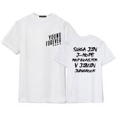 Bangtan Boys Tshirt BTS Young Forever T-shirt Suga JIMIN Tee ($11) ❤ liked on Polyvore featuring shirts