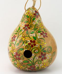 Painted Gourd Birdhouse - Floral Design - Perfect for the Garden