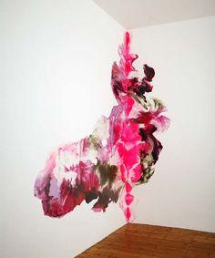 Noël Skrzypczak  Hourglass-aphids-aviatrix-,  2007, Synthetic polymer paint, 3.9 x 3 + 1.2 m