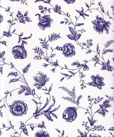 """108"""" wide Blue floral toile fabric 418"""