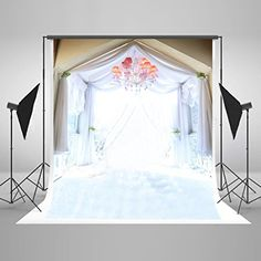 5x7ft Kate Wedding Photography Backdrops White Curtain and Colored Chandelier Seamless Backdrops Photography Studio