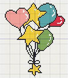 Buzy Bobbins: Bunch of balloons - colourful cross stitch design Free Cross Stitch Charts, Cross Stitch Freebies, Cross Stitch Love, Cross Stitch Cards, Cross Stitch Designs, Cross Stitching, Cross Stitch Patterns, Crochet Star Stitch, Donia