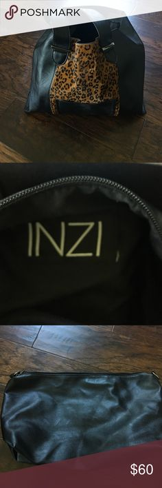 INZI Handbag INZI Handbag, high fashion leather bag. Like New! Leather removable pouch as shown in pictures. inzi Bags Totes