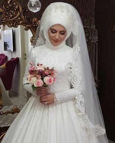 Gelinlik Muslim Wedding Gown, Muslim Wedding Dresses, Muslim Brides, Wedding Dress Sleeves, Bridal Wedding Dresses, Turban, Fairytale Bridal, Muslimah Wedding, Bridal Hijab