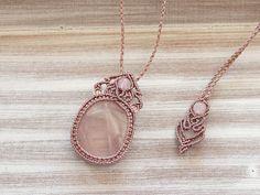 Macrame necklace Rose Quartz gemstone jewelry healing stone