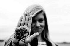 Hand tattoo of a tree