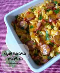 Cajun Macaroni and Cheese.  Will lighten up.  Perhaps use suggestions for the kids to eat too!