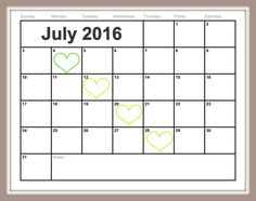 July Calendar Template Free Examples Download  Gina