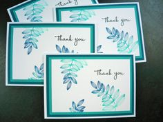Thank You Note Cards Set of 4 by apaperaffaire on Etsy