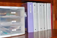 Love the idea of the drawers for bills/to-file items! The binders go without saying, AWESOME!