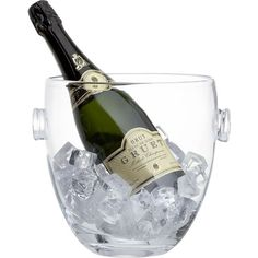 Crate & Barrel Park Wine-Champagne Bucket (€28) ❤ liked on Polyvore featuring home, kitchen & dining, bar tools, food, drinks, fillers, food and drink, kitchen, glass bucket and wine ice bucket