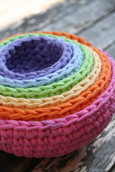 Love these for a baby gift! roygbiv in pastel nesting bowls, made from crocheted up-cycled t-shirts by yourmomdesigns.. $25.00, via Etsy.