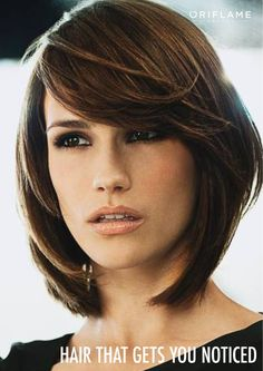Layered bob with long side swept bangs- when I decide to cut my hair completely off again... I like this, and the color/highlights.@Angela McMillan