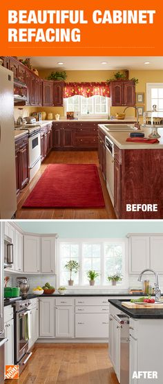 With cabinet refacing, you can update both the color and style of your cabinets. You're also able to express your style through thousands of on-trend finishes. This quick and easy update allows you to… Budget Kitchen Remodel, Kitchen On A Budget, New Kitchen, Kitchen Decor, Kitchen Furniture, Kitchen Colors, 10x10 Kitchen, Furniture Nyc, Remodel Bathroom