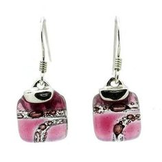 Strawberry Highway Mini Glass Square Earrings with Sterling Silver - Tili Glass