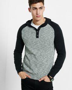 raglan sleeve henley hooded sweater