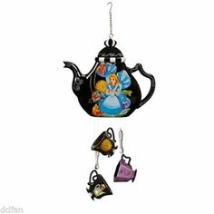 Alice In Wonderland China Wind Chimes Teapot/Cups&Spoons Mad Hatter Rare USAso cute! we have other chimes!! www.teapots4u.com