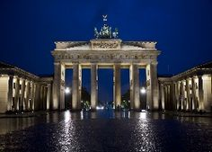 Brama Brandenburska, Berlin, Miasto, Noc