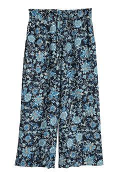 Креповые кюлоты - Темно-синий/Цветы - Женщины   H&M RU 1