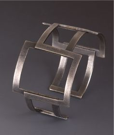 "Cuff | Maria Samora.  ""Square collection"".  Sterling silver oxidized"