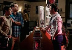"GLEE: Kurt (Chris Colfer, R) runs into Blaine (Darren Criss, L) and Karofsky (guest star Max Adler, C) in the ""Jagged Little Tapestry"" episode of GLEE"