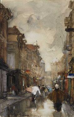 Floris Arntzenius (1864-1925) - A street in The Hague after the rain