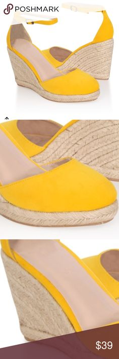 Yellow Wedges Fun wedges to brighten up any outfit. Perfect for spring and summer! Yellow velvet and espadrille sole is a perfect combo! Forever 21 Shoes Wedges
