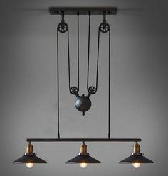 1,2, 3 Head Ancient estilo Industrial país de américa del vintage de la polea de loft luces pendientes colgante ajustable lámpara de envío gratis(China (Mainland))