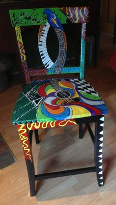 Painted chair with guitar and music theme. Hand Painted Chairs, Whimsical Painted Furniture, Painted Stools, Hand Painted Furniture, Funky Furniture, Colorful Furniture, Art Furniture, Unique Furniture, Furniture Projects