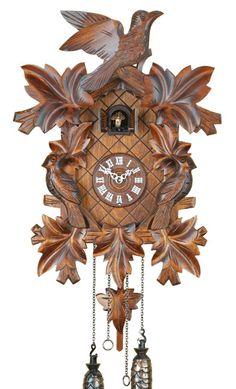 - Ebat: 400 mm. -Kuşlu tip guguklu saat - Masif ahşap kasa  - El oyması (Ihlamur ağacı) - Saat başlarında guguk çalarlı - Fotoselli, gece çalmaz