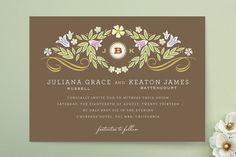 Flourishing Wedding Invitations by Griffinbell Studio at minted.com