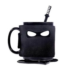 Taza de desayuno Ninja con funda cuchara y posavasos | Tecniac