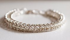 Silver Persian Weave Chainmaille Bracelet  Chainmail by PJsPrettys