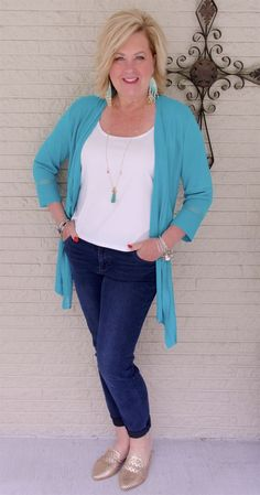 50 is not old turquoise and gold are summer must haves fashion over 40 fash Clothes For Women Over 50, Fashion For Women Over 40, 50 Fashion, Womens Fashion For Work, Women's Fashion Dresses, Look Fashion, Plus Size Fashion, Spring Fashion, Fashion Tips
