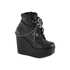 Women's Demonia Poison 101 Ankle Boot - Black Vegan Leather Ankle... (€86) ❤ liked on Polyvore featuring shoes, boots, ankle booties, black boots, short black boots, black lace up ankle booties, lace up platform wedge booties and ankle boots