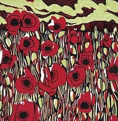 Jane Walker - linocut  Makes me think of Remembrance Day
