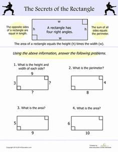 Fourth Grade Geometry Worksheets: Area and Perimeter of a Rectangle
