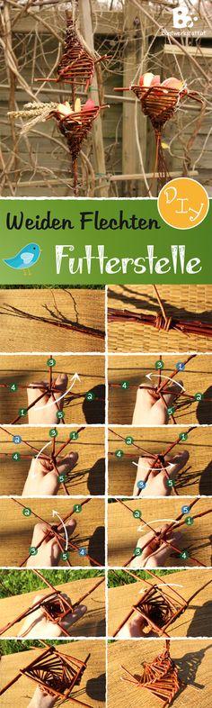 Anleitung für eine einfache Futterstelle für Vögel aus Weidenzweigen // easy willow weaving craft - Birdfeeder DIY