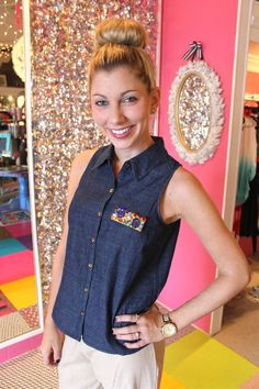 Bejeweled Denim Sleeveless Top is now on SALE!