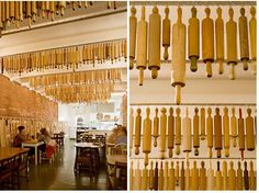 Rows of vintage wooden rolling pins decorate the ceiling of Pizza Farro, in Thornbury, Australia. LOVE