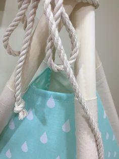 Mint Pink Blue Gray raindrops kids teepee play tent