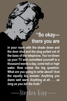 """Be authentic in writing. Advice from Stephen King from his brilliant book """"On Writing: A Memoir of the Craft. Book Writing Tips, Writing Words, Writing Process, Writing Help, Writing Skills, Memoir Writing, Fiction Writing, Stephen King Quotes, Stephen Kings"""